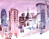 City in purple, pink  and mauve, A Travel Sketch Art Print - 8x10 print - SketchAway