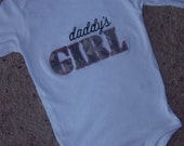Adorable ACU daddy's girl onsie or tshirt available in short sleeve in sizes newborn to youth extra large