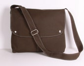 CITY.. Messenger Bag School bag Shoulder bag , Dark Olive Green canvas with Cream lining ,adjustable strap
