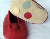 Red Baby Leather Dots Moks Sz 0-3M
