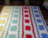 Handmade crochet blanket -  Chunky yarn red, blue, green, yellow, white  panels     600