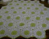 New handmade Hexigan Granny design spring green,  white colour Crochet Blanket  CUDDLE BLANKET (nannycheryl original) 648