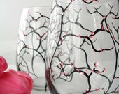 Cherry Blossom Spring Stemless Wine Glasses--Set of 2 Hand Painted Glasses - MaryElizabethArts