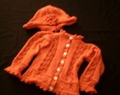 Hand-knit girl's melon color leaf and heart design cardigan and hat