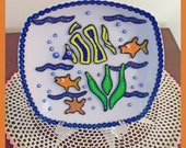 "Decorative Plate ""below the sea"" and stand -Treasury Item"