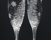 Fir Tree And Floating Flakes . 2 Champagne Flutes . Hand Engraved