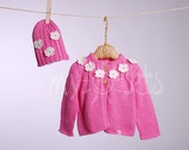 ORGANIC hand knitted baby girl set of cardigan and beanie hat. Made from 100% organic cotton yarn -FLOWER-.