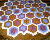 New handmade Hexigan Granny design multi colour Crochet Blanket 677