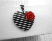 Black and white, stripes, heart, red rose, necklace.