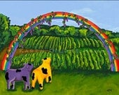 Cow Art Rainbow grapes winery purple yellow folk art  Signed Matted Digital print 8x10
