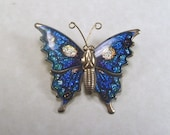 antique vintage blue enamels butterly brooch