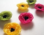 Poppy Fabric Applique - 6 Handmade Mini Poppy Flowers in Green, Yellow and Fuchsia