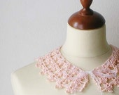Hand Crocheted Pink Collar Necklace - callmemimi