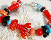 LULU The Little Red Lobster- Handmade Lampwork and Sterling Silver Bracelet - livilubaby