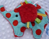 Peanut or Penny the Circus Elephant- Crinkle Crackle ribbon blanket