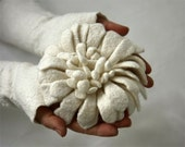 Felted Brooch - Hand felted Dahlia Flower Brooch - White - Holiday gift for her