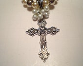 Black Friday and Cyber Monday Sale Faux Pearl and Silver Cross Necklace