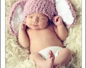 0 to 3 Newborn Hat - Bunny Hat Baby Beanie - Crochet Baby Hat Bunny Ears in Plum, White - Rabbit Hat For Girls - Infant Photo Prop