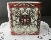 vintage DECORATIVE TIN-Made in ENGLAND-with hinged lid-embossed-scroll-ornate