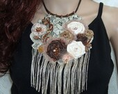Sugar and Spice Shabby Chic Statement Necklace with Sparkling Fringe and Fabric Roses Beaded