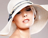 70's chic Natural Summer Straw Hat Ivory / Off White