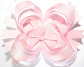 SALE...10% off by liking Lebelle Boutique on Facebook...Light Pink and White with Polka Dots Stacked Boutique Hair Bow