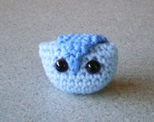 Amigurumi Owl -Small Crocheted From Blue Acrylic Yarn