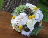 Bridal Bouquet - Succulent & Billy Ball Craspedia Yellow and White Wedding Bouquet - AprilHilerDesigns