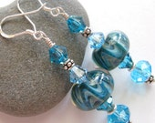 Poseidon's Waves Artisan Lampwork Bead Earrings - maineladybug