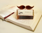 Business Card Holder Stained Glass Mustache for Him  Handmade OOAK 247
