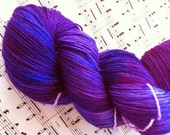 Maharaja  purple 75% wool and nylon hand dyed sock yarn for knitting, crochet, lace