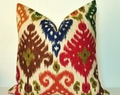 Pillow Cover - Decorative Pillow - Throw Pillow - Toss Pillow - Sofa Pillow - Ikat - 17x17 inch - Red - Green - Blue