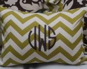 Monogrammed Green Chevron Print Throw Pillow