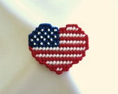 Patriotic Heart Flag Pin Brooch Hand Stitched
