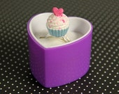Blue Heart Cupcake Ring