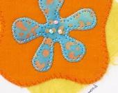 Handmade Greeting Card - Turquoise, Orange, Flower