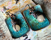 Athena Patina Earrings in Copper  with Quartz Drops - ORRTEC