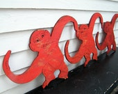 Barrel of Monkeys Wood Oversized Red Hanging Sculpture Set of 3