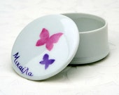 SALE Two butterflies small hand painted porcelain box