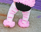 Pink Princess Crown Posh Pettilegs Ruffled Legwarmers