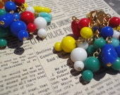 Vintage Colorful Glass Cluster Bead Earrings from Japan