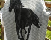 Horse Afghan in Soft Heather Grey, Black and Charcoal Heather Caron Simply Soft Yarn