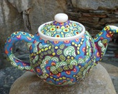 Whimsical Clay Mosaic Teapot