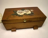 Wooden Jewelry Box with Hand Painted Flowers