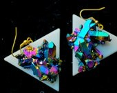 SPACESHIP Triangle Rainbow Titanium Aura Quartz Crystal cluster EarRing Pair