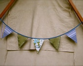 Bunting Garland - Green and Blue Vintage Floral