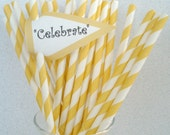 200 Yellow Stripe Paper Straws With DIY Blank Printable Pennants..Vintage, Retro, Weddings, Cake Pop Sticks, Graduation - DimeStoreBuddy