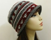 Textured Cloche/Toque in Charcoal/Gray/Burgundy - Hand Crocheted