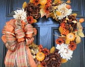 Brown Cream Orange and Yellow Fall Wreath with Pumpkins and Plaid Bow 20""