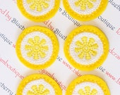 Lemons Felt Embroidered - Set of 6